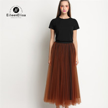 2 Piece Set Women 2017 High Quality Black T Shirt And Long Voile Skirt Sets