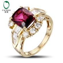 CaiMao 3.15ct Natural Pink Tourmaline & 0.113ct Diamond 18k Yellow Gold gemstone engagement ring Fine Jewelry