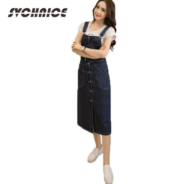 70d5b83c20428 Novo 2018 Moda Feminina Botão Denim Saia Suspender Longo Macacão Vestido de  Verão Calças Jeans Femininas