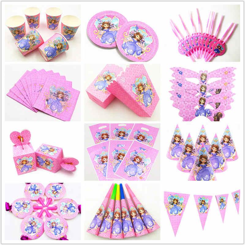 Disney Sofia The First Theme Anak Ulang Tahun Pesta Dekorasi Kertas Taplak Meja Piala Piring Putri Tema Pesta Baby Shower Supply