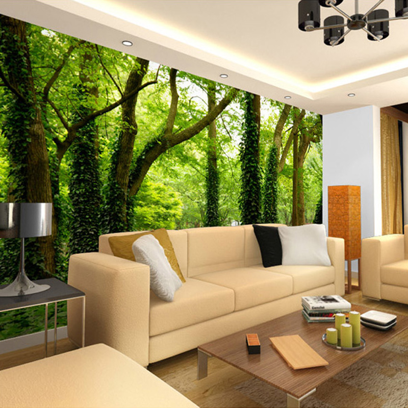 Photo Wallpaper Modern Simple Green Forest Nature Landscape 3D Panel Wall  Mural Living Room Background Wall Home Decor Wallpaper in Wallpapers from  Home. Photo Wallpaper Modern Simple Green Forest Nature Landscape 3D