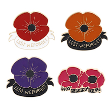 Red Purple Poppy Pin Remembrance Sunday Brooch Veterans Day Lapel Pins Memorial Day Flower Jewelry For Man's Gifts