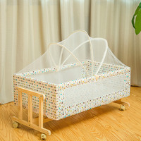 Simple Solid Wood Crib Baby Cradle Portable Infantt Bed Children's Bed Nets with Mosquito Net Roller 0 2month