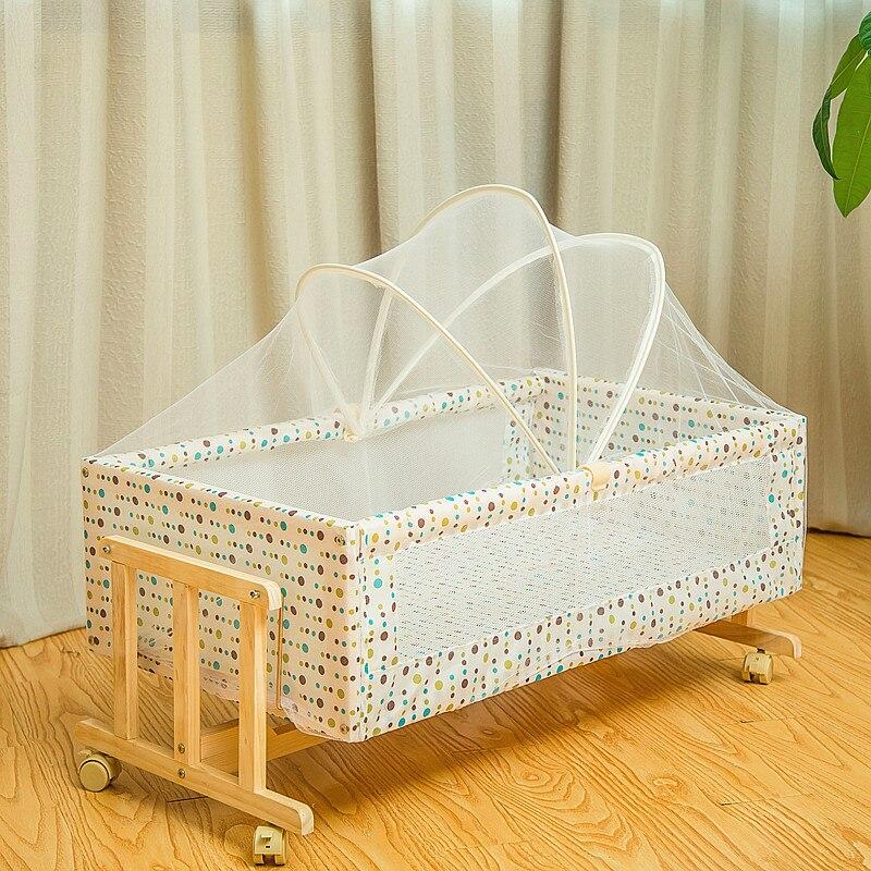 Simple lit en bois massif berceau bébé berceau Portable lit pour enfants moustiquaires avec moustiquaire rouleau 0-2month