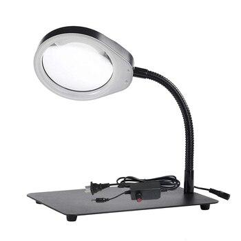 Desk magnifying glass 10X 20X magnify adjustable LED lights