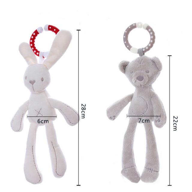 Schattige Baby Wieg Wandelwagen Speelgoed Konijn Bunny Bear Zachte Pluche baby Doll Mobiele Bed Kinderwagen kid Animal Opknoping Ring Ring kleur Willekeurige 1