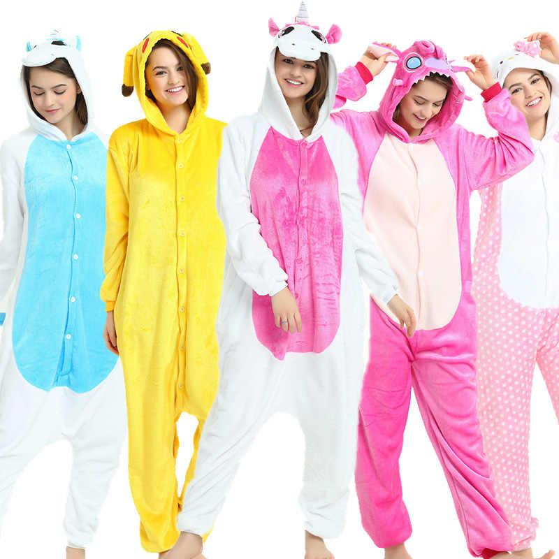Унисекс Зимние теплые Косплей пижамы единорог стежка панда взрослые  животные комбинезоны пижамы Фланелевая пижама с капюшоном e4e8a1094d493