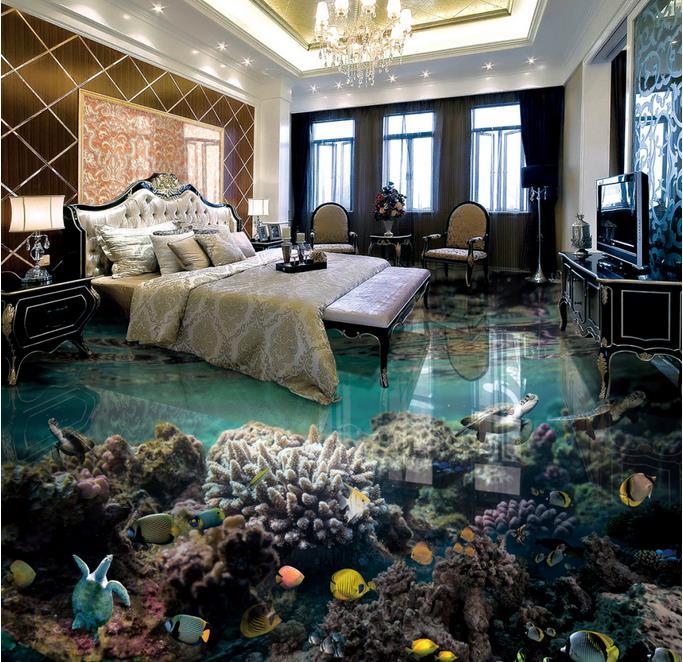 Benutzerdefinierte 3d Boden Die Unterwasserwelt Tapete Selbstklebende Bodenbelag Wohnzimmer Wasserdichte Wand