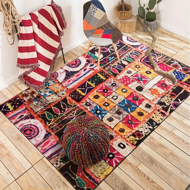 Fashion Multi-color Bohemia Pakistani Patchwork Style Door Bathroom Kitchen Mat Living Room Bedroom Decorative Carpet Area Rug