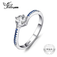JewelryPalace Round 0 7ct Cubic Zirconia Created Blue Nano Sapphire Anniversary Promise Engagement Ring 925 Sterling