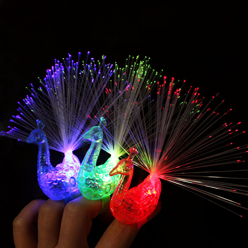 5pc Peacock Finger Ring Light party rave festival led light battery powered deco anniversaire birthday party decorations adult 6
