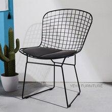 Современная Классическая Дизайн черный, белый цвет Гарри Bertoia металлической проволоки стул мягкий Стальная проволока стул Цветной металла кафе стул 1 шт