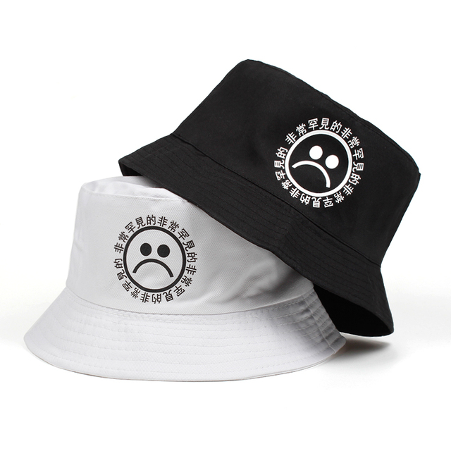 2018 new women men fisherman sad boy bucket hat hip hop navy white black  red sadboy summer sun panama cry face bonnie cap 3e4596e55187