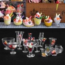 Прозрачные пластиковые мини, для вина кукольный домик миниатюрные чашки для сливочного мороженого чашки игрушки Ресторан гостиная глиняные контейнеры пищевые принадлежности инструмент