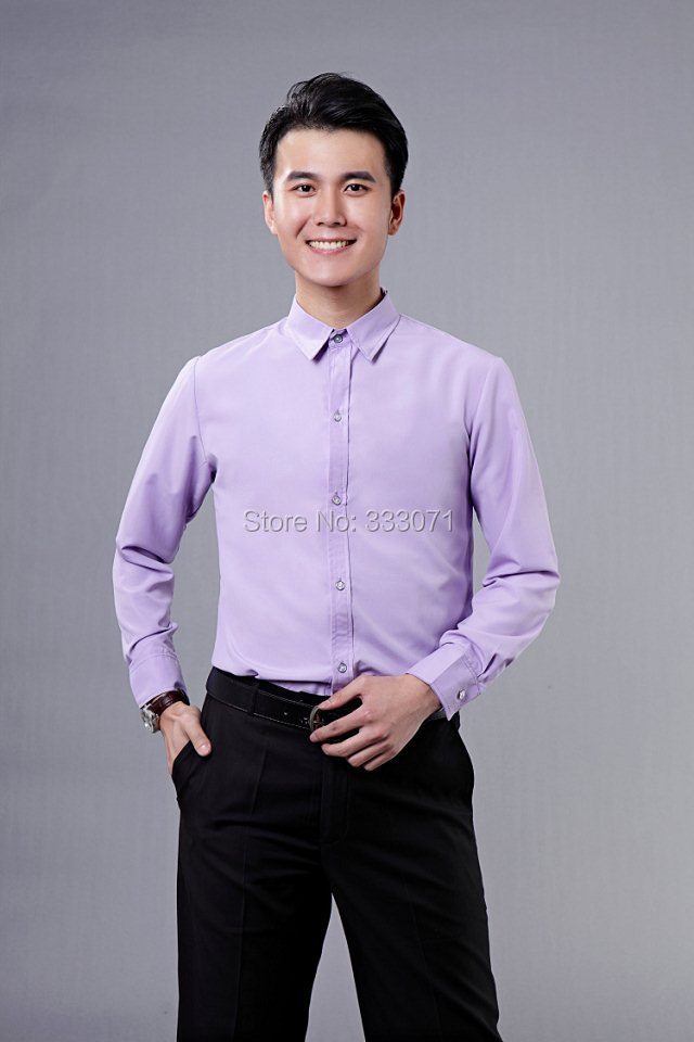 Popular lilac shirt buy cheap lilac shirt lots from china Light purple dress shirt men