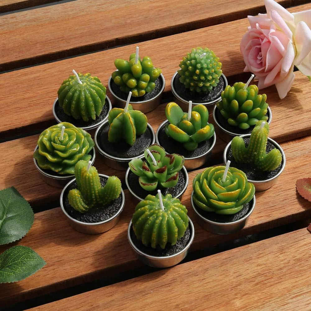12pcs Cactus Candle Cute Mini Set Artificial Succulent Plants Candles Home Decoration Candle Tea Light Best Xmas Gift