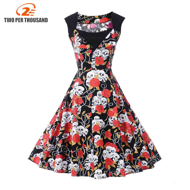 bfb3f9a0f0 vintage dress skeleton A-line party print black dress 1950s style sexy  sleeveless 2018 new summer robe pin up tunic dresses