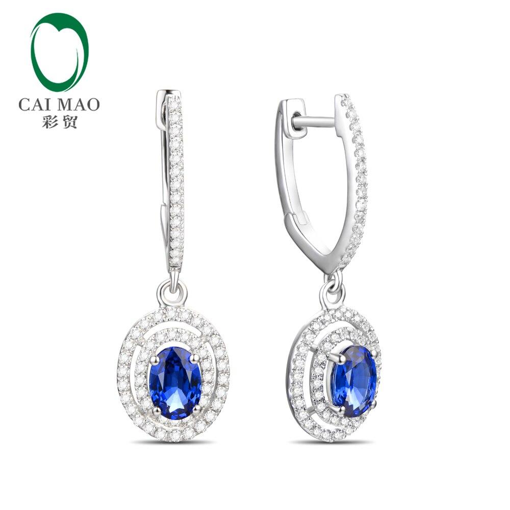 Bijoux Caimao 14kt or diamant naturel et 1.38ct saphir boucles d'oreilles de fiançailles