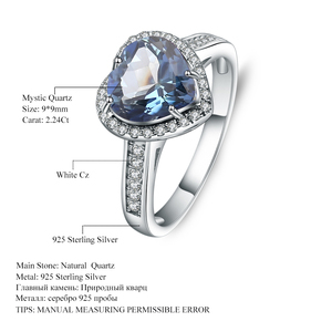 Image 5 - GEMS בלט 925 סטרלינג כסף לב צורת 2.47Ct הטבעי Iolite כחול מיסטיק קוורץ חן טבעות לתכשיטי נשים