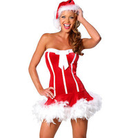 2017 Women Sexy Christmas Santa Claus Costume Red Exotic Strapless Dress Cap New Fashion Short Skirt Party W344023