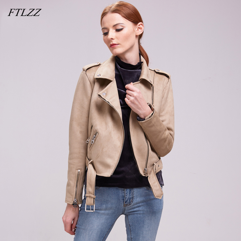 FTLZZ Faux   Suede     Leather   Jacket Women Slim Zipper Biker   Leather   Coat Black Motorcycle Belted Short Coats Basic Street Outwear