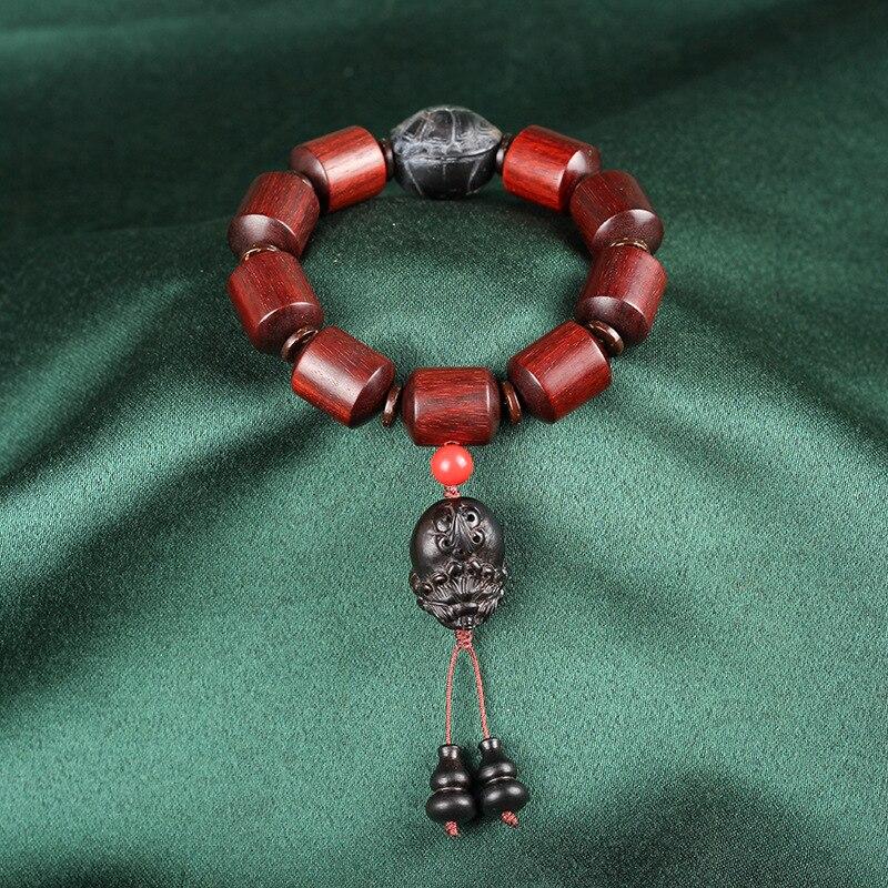 Mr Lou original lobular rojo barril de madera de sándalo cuenta alto aceite antiguo material organizar grano de rosa de Venus círculo único Cordón de cuentas - 2