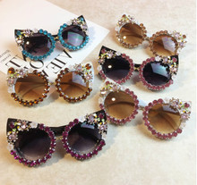 Cute Cat Eye Diamond Women Sunglasses Luxury Female Sun Glasses UV400 Colorful Crystal Vintage Shades Gafas de sol