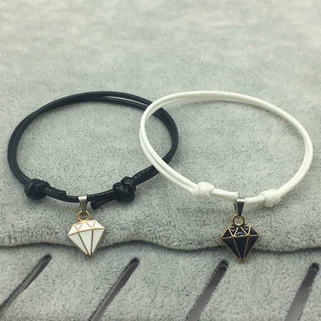 Bracelet Distance Couple Noir et Blanc