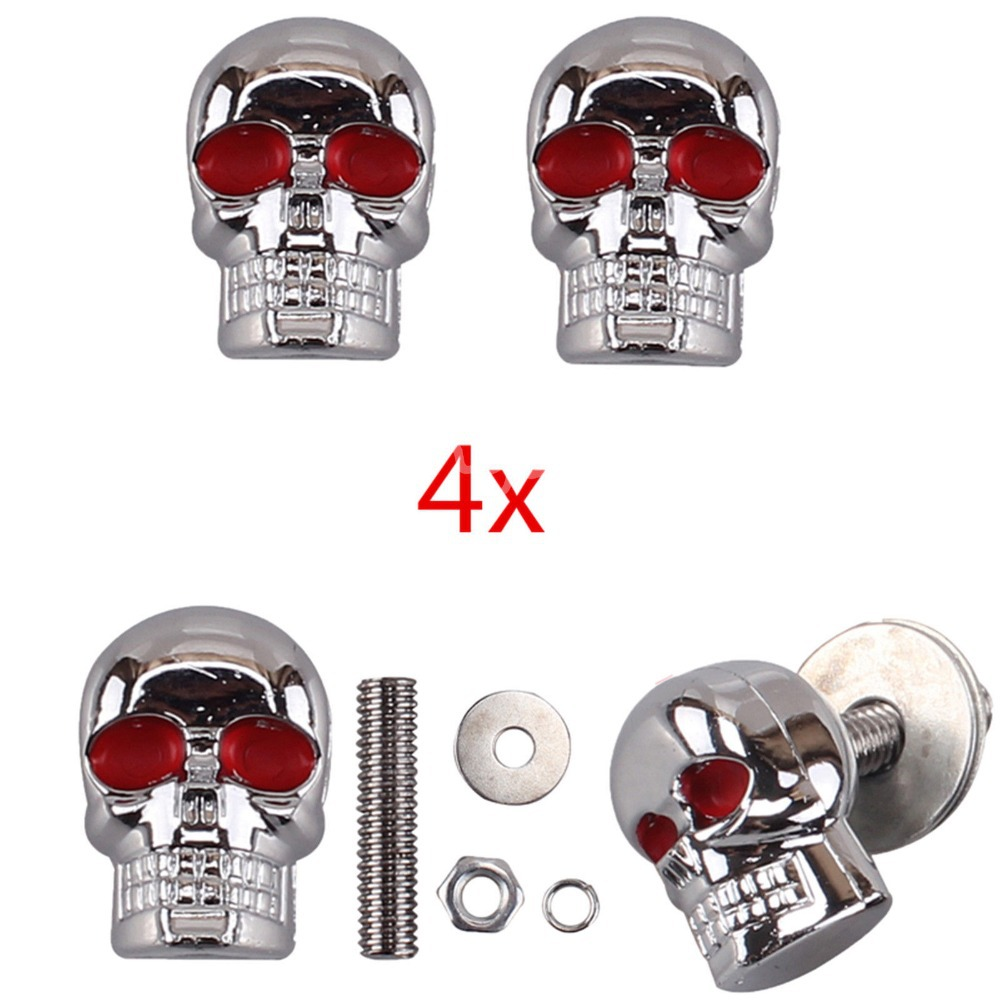 4pcs/lot 6mm Chrome Red Eye Motorcycle Skull License Plate Frame ...