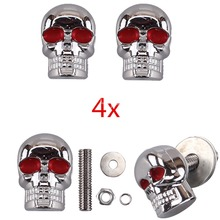 4pcs lot 6mm Chrome Red Eye Motorcycle Skull License Plate Frame Bolts Screws Caps For Honda