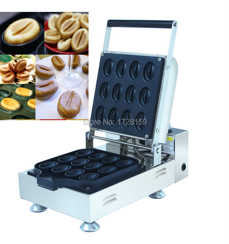 12pcs Commercial  110V /220v Electric Non-stick Coffee Beans Waffle Maker, coffee beans cake for snack and dessert shop free shipping 3d dessert cake gourmet theme restaurant wallpaper cake shop dessert coffee dessert snack bar mural