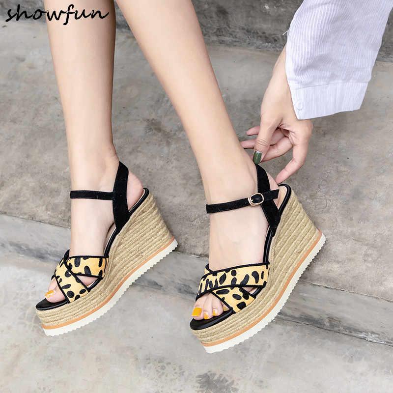 Womens Chic Horse hair Leopard  Platform Wedge Beach Slippers Sandals Shoes ACGC
