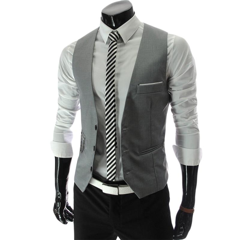 Dress Vests For Men Slim Fit Mens Suit Vest Male Waistcoat Gilet Homme Colete masculino social Formal Business Jacket 3XL 4XL