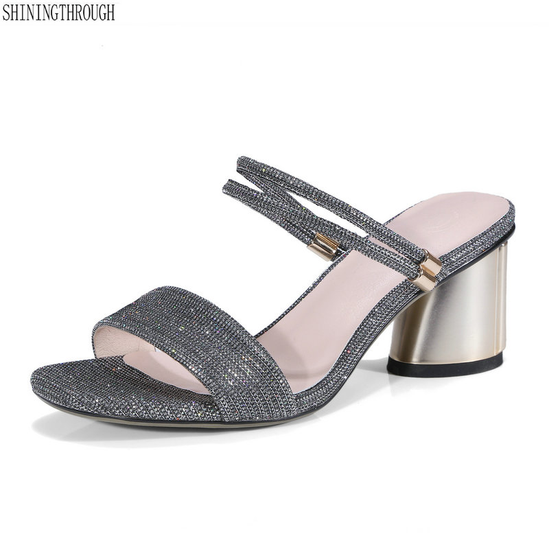 Fashion Female Slippers thick high heels Sandals Summer Shoes Women Mules Ladies High Heeled Slides Shoes size 9 10 11 2017 summer new women sandals slipper shoes fashion rhinestone thick high heel female slides snadals black plus size shoes xp35
