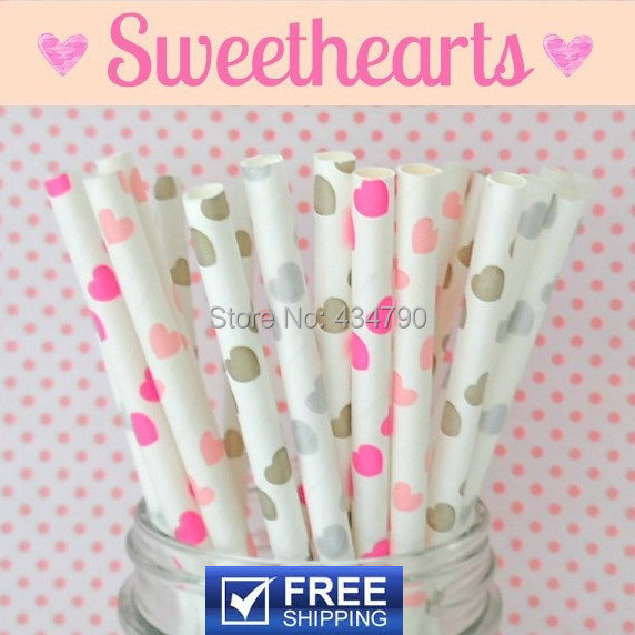 150pcs Mixed 6 Designs Sweethearts VALENTINES DAY Paper Straws Wedding, Gold, Silver, Baby Pink, Hot Pink, Light Blue, Red Heart