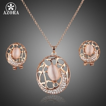 AZORA Rose Gold Color Stellux Austrian Crystal The Carp Clip Earrings and Pendant Necklace Set TG0018