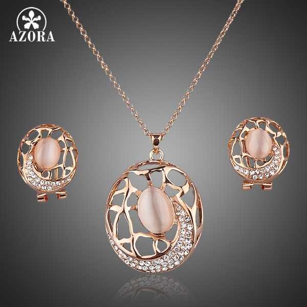 AZORA couleur or Rose Stellux cristal autrichien la carpe Clip boucles d'oreilles et pendentif collier ensemble TG0018
