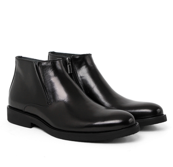 Fashion Black / Tan Warm Wool Lining Winter Mens Ankle Boots Genuine Leather Dress Boots Male Formal Shoes