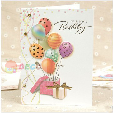 12.5 x 17cm,Lovely cartoon style paper birthday card,gift Greeting Card(ss-1519)