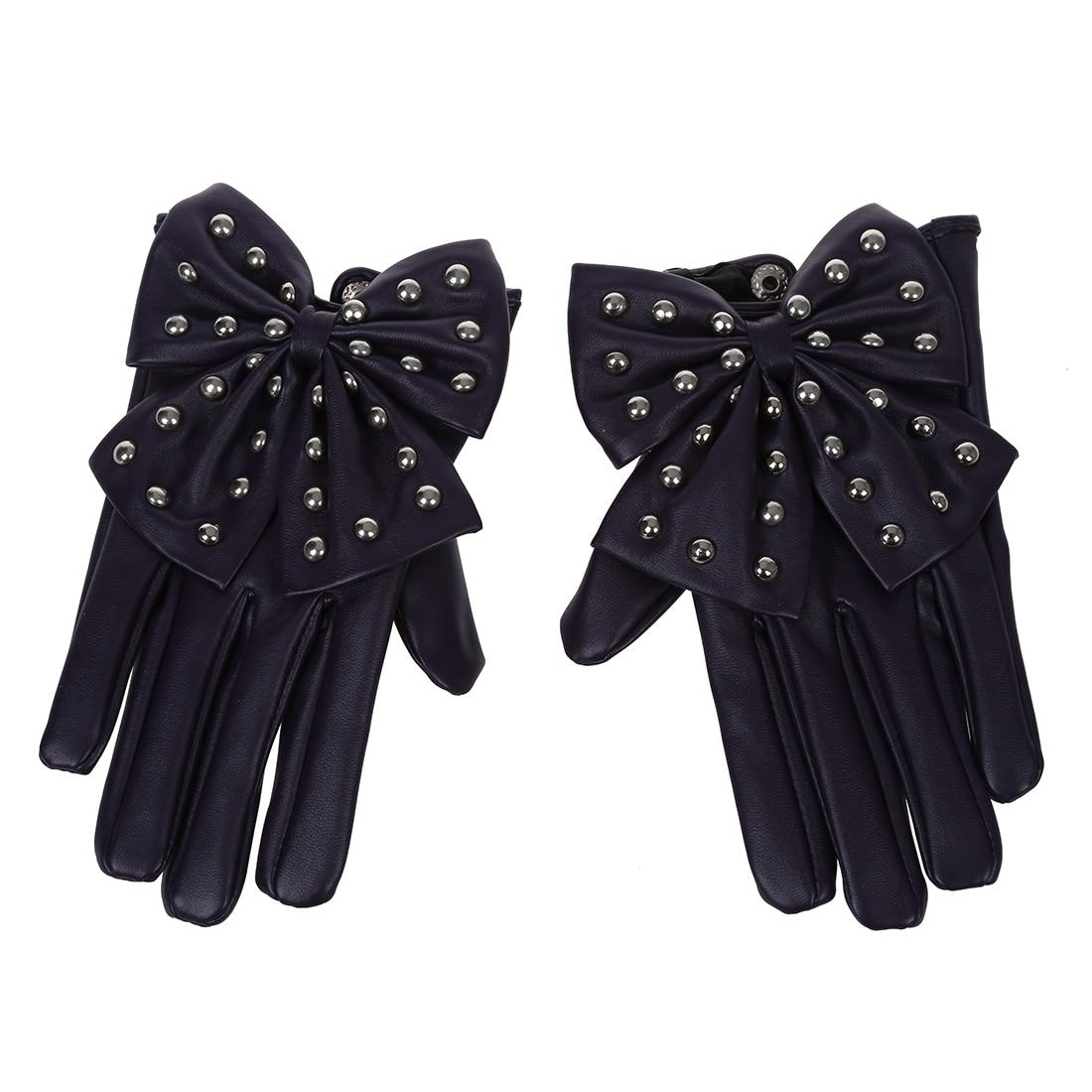 Womens leather gloves purple - Women S Rivets Butterfly Bow Pu Leather Gloves Purple L