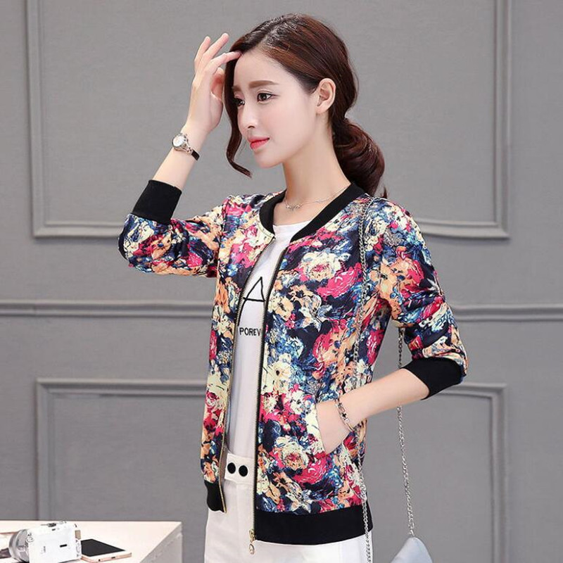 New 2017 Sequin Jacket Bomber Jacket Floral Women White Coat Casual Baseball Jacket Zipper Basic Outerwear Coats Chaqueta Mujer