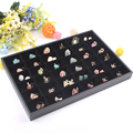 High-end Black 36 Grids Jewelry Tray Ring Earring Box Bracelet Plate Necklace Pendants Display Jewelry Storage Showcase