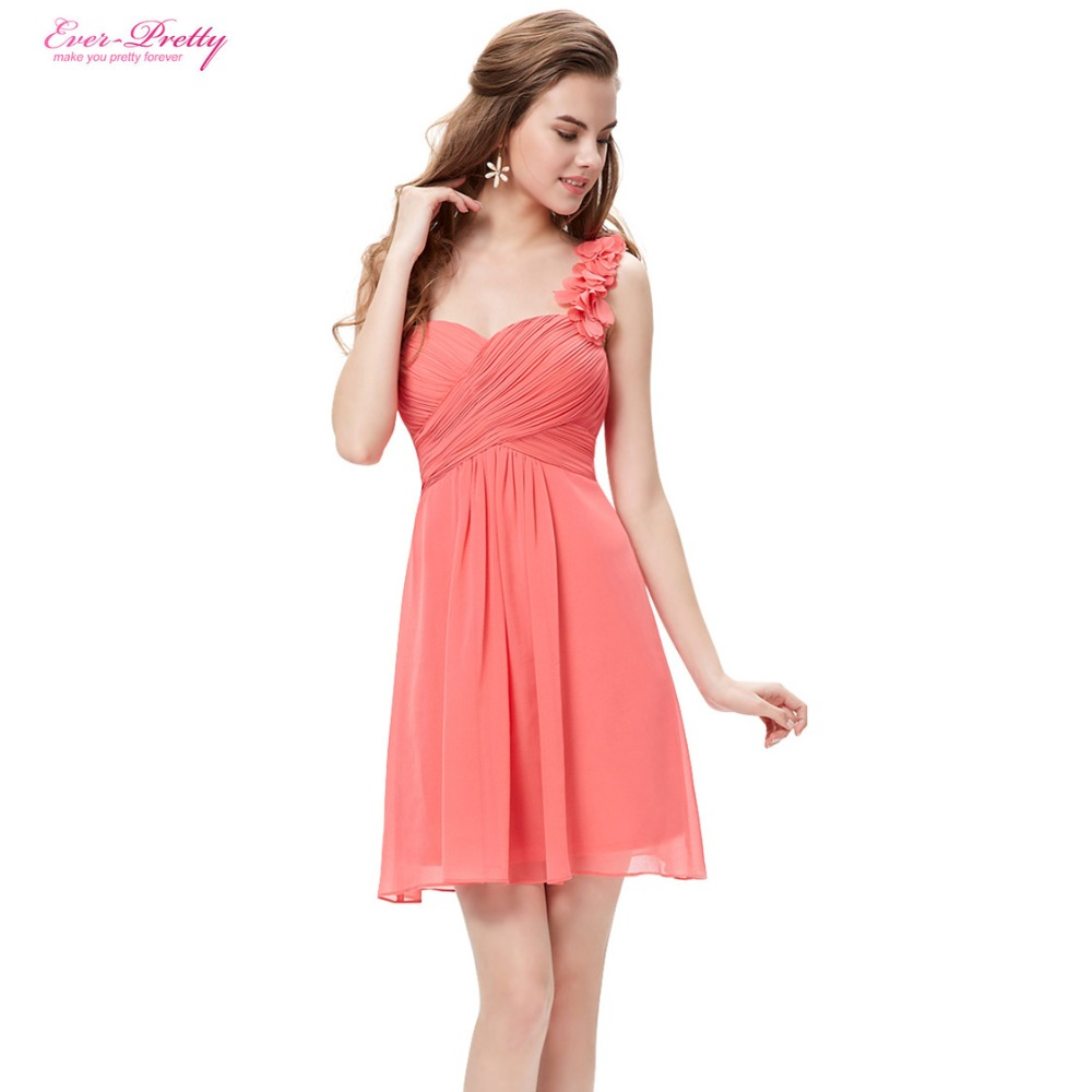 Bridesmaid Party Dresses One Shoulder Flowers Padded Ruffles Short Wedding 2017 EP03535 Ever Pretty In From Weddings