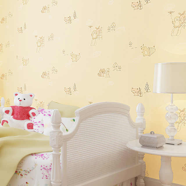 Non Woven Wallpapers Cute Little Fox Cartoon Wall Paper Rolls Boys And Girls Bedroom Kids