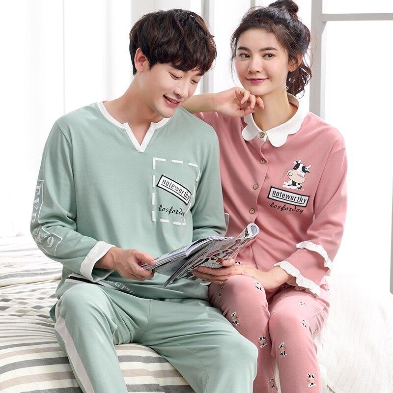 New Arrival Autumn And Winter Comfortable Couple Pajamas Set 100% Cotton Cartoon Long Sleeve Leisure Couple Pajamas