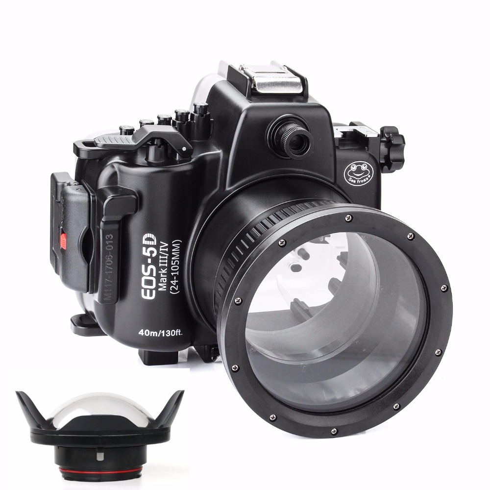 SeaFrogs 5D4 5D IV 40M 130ft Diving Waterproof Housing Case for Canon 5D III IV 5D3 5D4+Seafrogs WA-1 Fisheye Wide angle lens meikon 40m wp dc44 waterproof underwater housing case 40m 130ft for canon g1x camera 18 as wp dc44