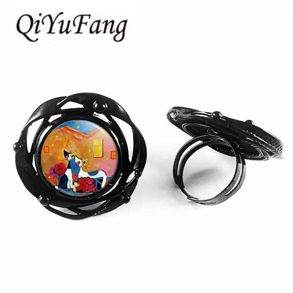 Steampunk ring Boutique Rosina Wachtmeister Cats Accessories Colorful Cats Glass Art flower big ring new jewelry