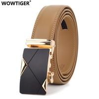 WOWTIGER Genuine Leather Automatic Buckle Brand luxury designer Mens Belt Light Brown 3.5cm Male Belts for Men Ceinture Homme