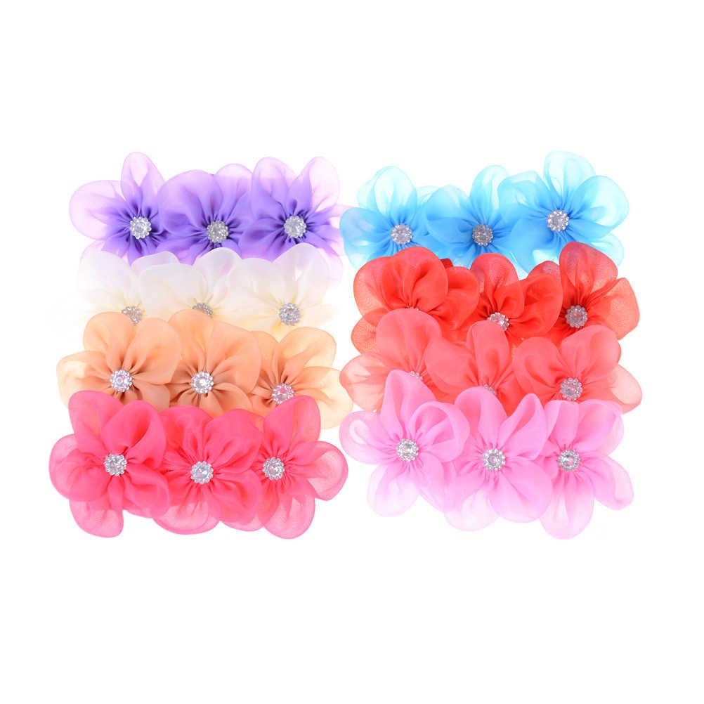 Лента жемчужная полоска на голову с бриллиантами ободки для новорожденных шитье 3 цветы повязка на голову Детские аксессуары для волос для девочек 8 цветов