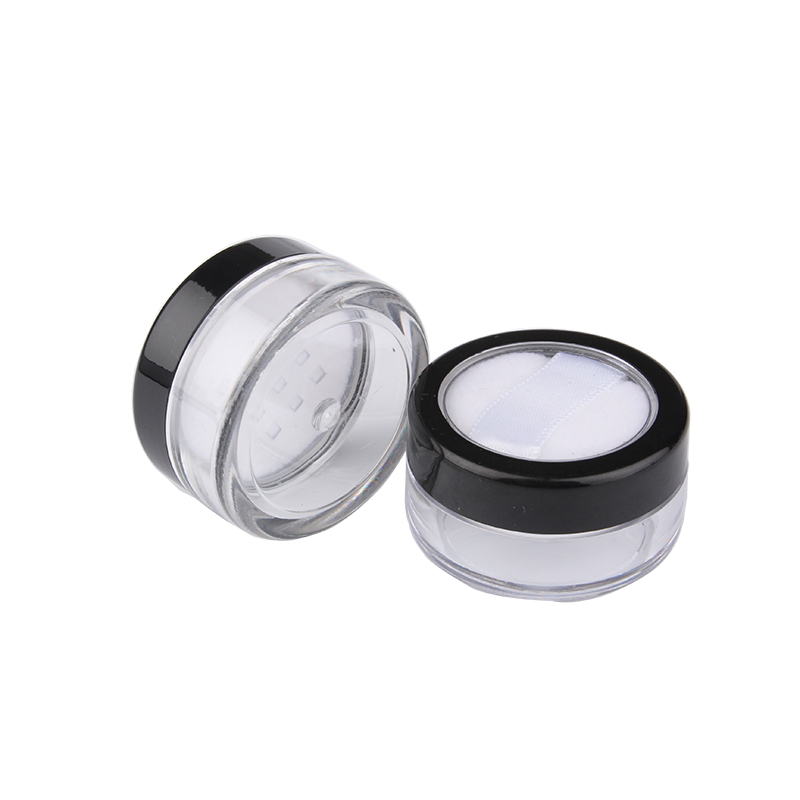 New Arrival 100pcs lot 5g Empty Plastic Powder Jar With Sifter Soft Puff Refillable Cosmetic Packaging